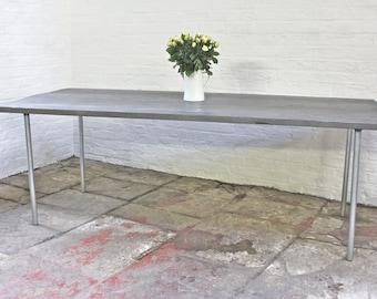 Bevan Grey Washed Reclaimed Scaffolding Board Dining Table with Galvanised Steel Pipe Legs - Bespoke Furniture by www.urbangrain.co.uk