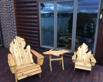 Michigan Adirondack Chairs + UP Side Table
