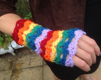 Rainbow fingerless gloves, wrist warmers, crochet fingerless mittens, multi-coloured, LGBT, Pride, rainbow, stripes, shell pattern, handmade