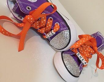 Purple Rhinestone Converse Shoes