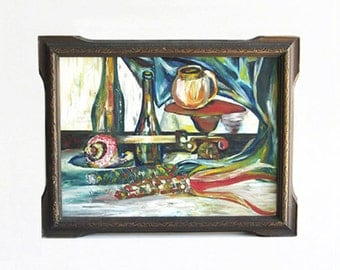 vintage Arts and Crafts still life fruit wine painting wall home decor art