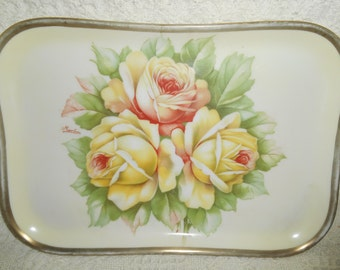 O & E G Royal Austria Yellow and Orange Rose Tray Hand Painted Artist Sign Martins
