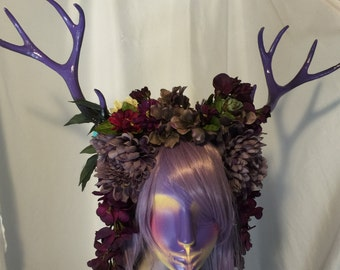 Antlers and flower headpiece