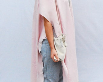 Re make with Popular Demand Silk Cashmere  powder pink cloak with suede tassles and suede pouch
