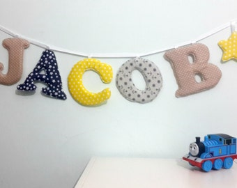 jacob name banner,Nursery wall letters, boy nursery letters, Wall hanging fabric letters, boy nursery decor, baby shower gift