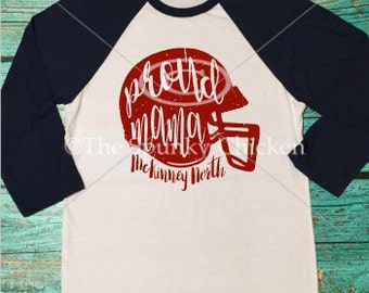 Ladies Proud Mama Football Raglan with Distressed Helmet Shirt Personalized