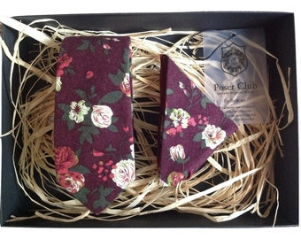 Tie and Pocket Square 'Sweet Cherry' Duo Set by Poser Club (Burgandy)