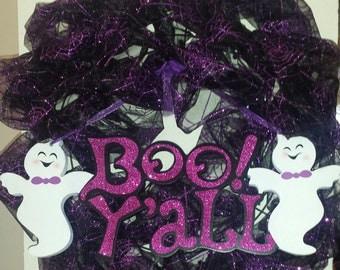 """Black & Purple Orgnaza """"Boo Y'all!"""" Ghost Wreath"""