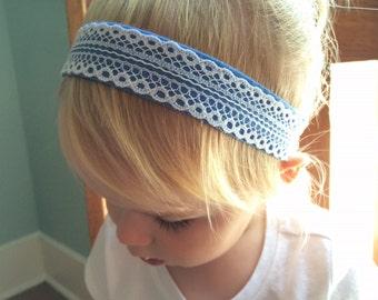Lace headband - white lace on blue skies felt