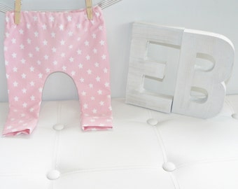 Emma's Bambino Girls Baby/Toddler Leggings - Pink With White Stars.  Handmade From Quality Stretch Cotton.