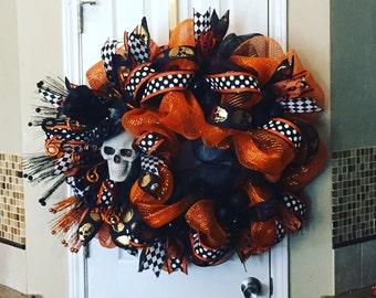 BIG Skulls Black and Orange Halloween Wreath
