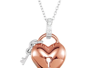 """10kt Rose Gold  .05 CTW Diamond Heart and Key 18"""" Necklace"""