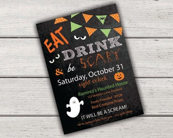 Halloween Party Invitation, Eat Drink & Be Scary, Halloween Party Invites, Chalkboard Halloween Invites, Printable Halloween Invitation, diy