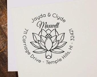 Wedding Return Address Stamp, Custom Script Lotus Self Inking Address Stamp, Custom Wedding Rubber Stamp, Custom Stamp, Address Stamp,