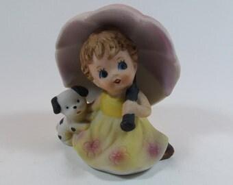 Vintage Big Eyes Figurine -  Girl With Her Pet Dog Under An Umbrella, Hand Painted Kitsch