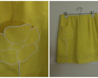 Yellow Sunflower Skirt with attached shorts / school girl skirt 80s 90s