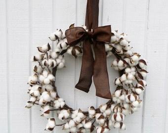 Cotton Wreath, Wreath, Dried Cotton Wreath, Cotton