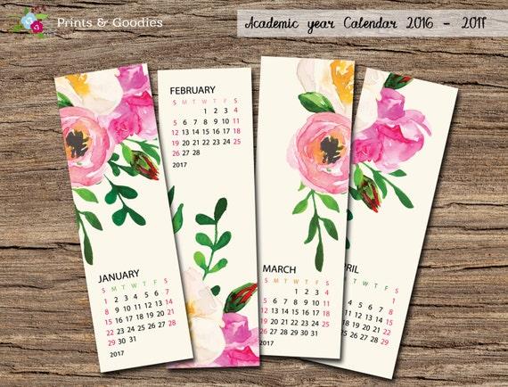 Calendar Bookmark : Items similar to watercolor floral planner calendar