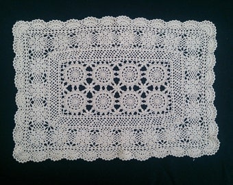 Vintage Crocheted Lace Rectangular Doily, Placemat, or Table Runner. Ecru Colour RBT0368