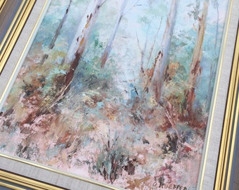 Original Vintage Painting. Australian Art. Oil Landscape Painting of Morning in Eltham North by Anne Kueffner in Decorative Frame ROP0100