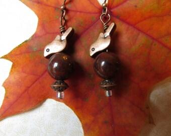 Antique Copper Bird Earrings