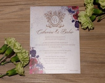 Floral Wedding Invitation, Floral Invitation, Floral Wedding Invitations, Vintage Wedding Invitation, Vintage Invitation, Vintage Invites