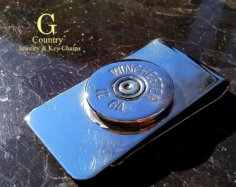 money clip Winchester 12 gauge  bullet jewelry accessory, men's gift, men's accessory