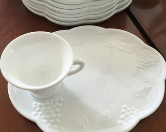 Colony - Indiana Glass Milk Glass Snack Set