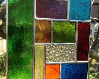 Stained Glass Suncatcher Panel Multi Colour Abstract Stain Glass Art Color