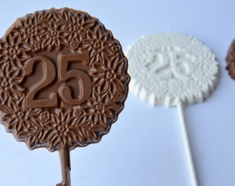 Number 25 Pops (12), Chocolate 25th Favors, 25 Birthday Favors, 25 Celebration Chocolate, Anniversary Chocolates, 25th Birthday Chocolates