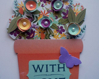 Handmade All occasion card, flower pot card, 3D blank card