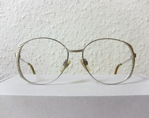 Metzler Oversized Round Eye Glasses Silver Extravagant Elegant Frame. Women Ladies 80's Eyewear Eyeglasses Medium Sized As New NOS Rx