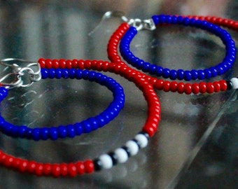 Beaded double hoop earrings