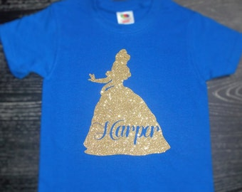 Disney Inspired Personalized Princess Belle Shirt for Women & Girls / Disney Princess Belle Shirt / Glitter Princess Belle Shirt for Girls