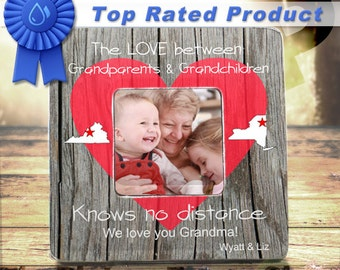 The Love Between Grandparents and Grandchildren Maps State Personalized Frame Long Distance Grandparents Grandchildren Gift Custom Frame