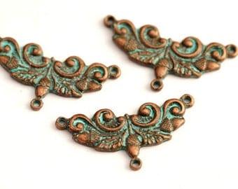 2 connectors / 33x15mm / Patina – copper
