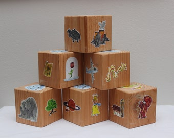 Story Blocks, Pine // Baby Blocks with Original Art Illustration