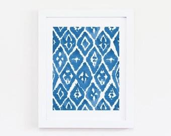 "8 x 10 ""Blue Ikat Two"" Watercolor Art Print - Indigo, Cobalt, Bohemian, Boho"