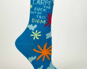 Women's / Men's Crew Socks  - Carpe The F**** -   Funny, Quirky, Novelty Gifts,  Gift