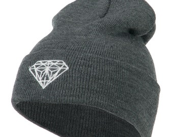 White Diamond Embroidered Long Cuff Beanie