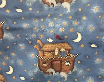 Noahs ark moonlit night print fabric