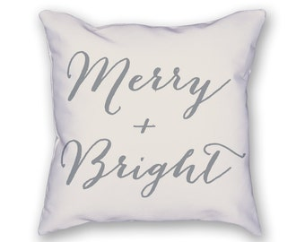 Merry & Bright Pillow – Christmas Pillow, Holiday Pillow