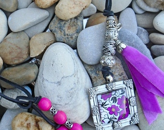 Boho Necklace Whimsical Pink