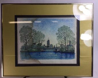 Original Diana Weber water color & ink pen on paper. 42/250 1974