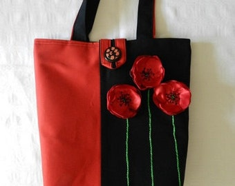Eco tote bag with poppy