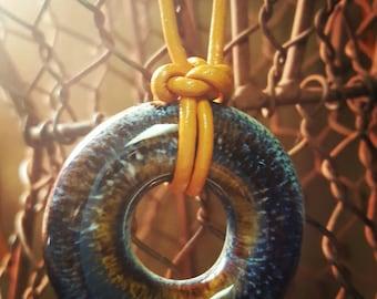 Ceramic pendant necklace // Rust Orange leather cord // Blue Brown Fall // pumpkin caramel