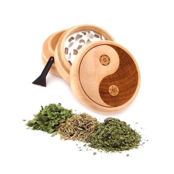 Yin Yang Om Engraved Premium Natural Wooden Grinder Item # PW91316-5