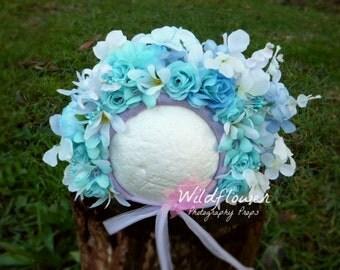 """Floral Bonnet, """"Ocean Breeze"""" Photography prop"""