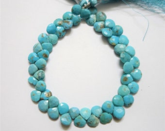 Natural Turquoise Faceted Hearts