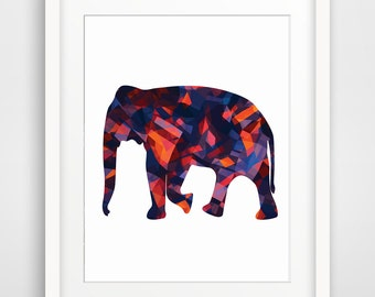 Elephant Print, Elephant Art, Elephant Wall Art, Geometric Elephant, Colorful Elephant Print, Multi-Color Elephant with various shape